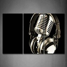 Headphone And Microphone Picture Print Canvas Wall Art Painting Music Photo Gift