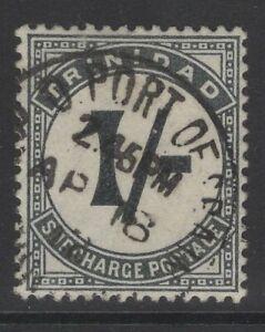 TRINIDAD SGD17 1905 1/= SLATE-BLACK POSTAGE DUE FINE USED