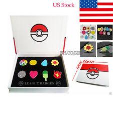 New 8pcs Cos Anime Pokemon Gym Badges box Set Indigo League Set Kanto Badge Pin