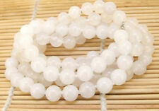 Long 35'' Natural 8mm White Jade Gemstone Round Beads Jewelry Necklace
