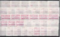 E3145/ ICELAND – ATM – 1983 / 1993 MINT MODERN LOT