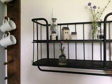Wandboard Regal schwarz Metall Wandregal Bücherregal Industrie Stil Hakenleiste
