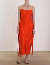 Zimmermann Orange Ruched Slip Silk Dress Size 3 (L)