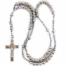 Cristal de Plata granos de rezo del rosario con crucifijo Cruz