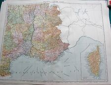 1919 LARGE ANTIQUE MAP- FRANCE SOUTH  EAST, INSET CORSICA