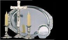 Sick call set 6 piece with crucifix tray + candles silver colour metal Communion