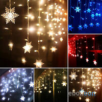 Christmas LED Snowflake Tree Hanging Curtain Fairy Lights String Icicle Window