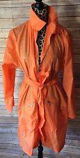 Diane Von Furstenberg Mod Rain Trench Coat Jacket Orange Sz M