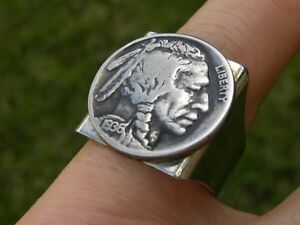 Signet ring Vintage Buffalo Indian Nickel coin adjustable  nice gift motorcycle