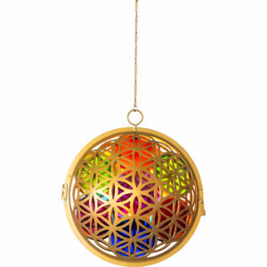 Oval Flower of Life and Chakra Glass & Metal Lantern