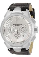 New Mens Technomarine TM-718002 Sea Dream 48mm Black Leather Chronograph Watch