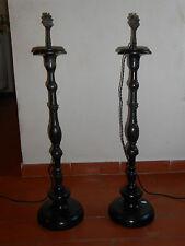 PAIRE DE PIQUE-CIERGES ou BOUGEOIRS EN BOIS TOURNE .XIX°.Lampes.Electrifiés.