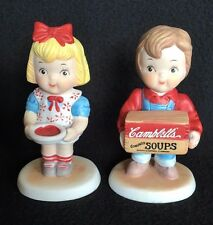 Cambell's Soup Figurines Collectibles Boy and Girl 1993 Ceramic Campbell's
