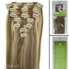 15 Inch 7Pcs Straight Beauty Clip In Real Remy Human Hair Extensions 70G #12/613