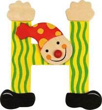 Lettre prenom de porte clown en bois H JAUNE, décoration de porte **