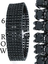 Men's New 14k Black Gold Finish 6 Row Diamond Simulate Bracelet 8.5 Inch 20mm