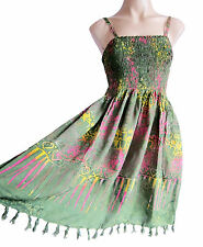 Green Strappy summer/ beach dress, elasticated size 10-16 summer holiday new
