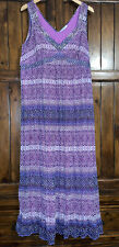 BHS Talla 20 Petite púrpura impresión Boho Maxi vestido largo plisado de lentejuelas Arruga V