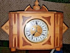 Handmade wooden Polish mantle clock by Frank Wontkowski