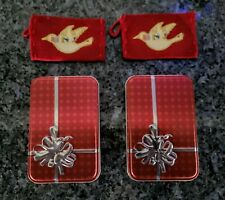 """Starbks Xmas Red Knit Dove Gft Card Holder(2) & """"Give a Gift"""" by Seastone Tin(2)"""