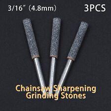 3x Diamond Chainsaw Sharpener Burr Stone File 3/16 4.8mm Chain Saw Tool Set