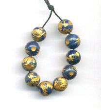 TEN (10) CARVED 10 KT. GOLD PLATED LAPIS LAZULI 8MM DRAGON BEADS - 0382