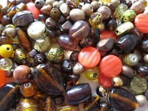 200 x GOLD BROWN ORANGE GLASS BEADS SELECTION CRAFTS JEWELLERY MAKING BEADING