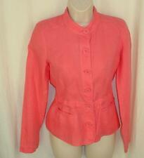 Eileen Fisher Shirt Jacket XS Irish Linen Punch Pink Covered Buttons Tie Back
