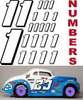 WHITE w/Black (#1's) Racing Numbers Decal Sticker Sheet 1/8-1/10-1/12  RC Models