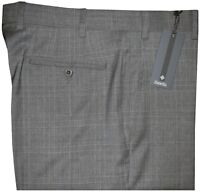 $325 NEW ZANELLA ITALY NORDSTROM DEVON GRAY TONE PLAID 120'S WOOL DRESS PANTS 36
