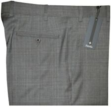 $325 NWT ZANELLA NORDSTROM DEVON GRAY TONE PLAID SUPER 120'S WOOL DRESS PANTS 35