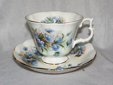 Royal Albert SMALL BLUE BELL SHAPED FLOWERS on White Cup & Saucer Set