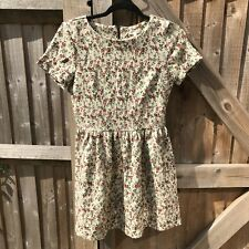 River Island Vintage Style Cream Floral Skater Mini Dress 10 VGC Summer Holiday