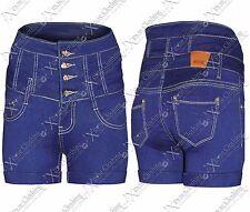 Nuevo Mujer Cintura Alta Denim Caliente Pantalones Vaqueros Pitillo Azul Cortos