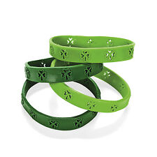 24 Die Cut Shamrock Shape Bracelets Green St Patrick's Day Party Favor