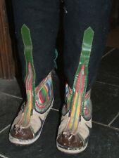 Vintage Tibetan traditional wool cloth BOOTS size 7 (ish) Nepal festival rainbow