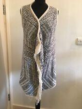 Knit Wool Winter Cardigan Gilet grey white 40 M L hippie boho norwegian jumper