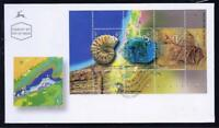 ISRAEL STAMPS 2002 GEOLOGY SOUVENIR SHEET FOSSIL FDC