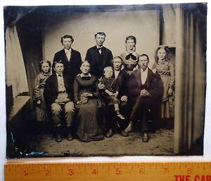 RARE Full Plate Tintype Photo  - Case Family Auburn NY ca 1860s Recent Discovery
