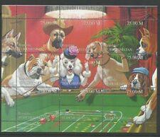 Dogs Casino Dice Gambling mnh Miniature Sheet 9 Stamps Turkmenistan