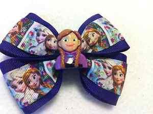 "Girls Hair Bow 4"" Wide Frozen Elsa & Anna Purple Ribbon French Barrette"