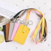 ID Badge Card Holder Leather Vertical Clip Neck Strap Lanyard Necklace Case