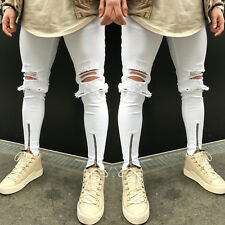 UK STOCK! Men Skinny Super Stretch Fit Ripped Denim Jeans All Waist Ripped Pants