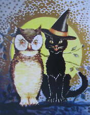vintage art HALLOWEEN  Black Cat Owl Full Moon