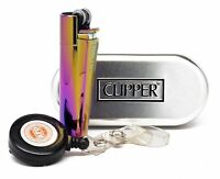 Clipper Metal Cigarette Lighter Icy Rainbow Icy Collection w/ RPD Lighter Lasso