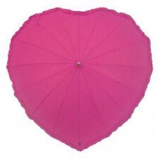 Señoras Caliente Rosa Volantes Corazón Forma Paraguas a prueba de viento Elegante Moda Brolly