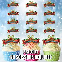 PRECUT Merry Christmas Candy Canes 12 Edible Cupcake Toppers Cake Decorations