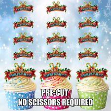 PRECUT feliz Navidad Candy Canes 12 Comestible Cupcake Toppers Decoraciones De Pastel