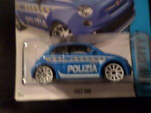 HW HOT WHEELS 2015 HW CITY #50/250 FIAT 500 HOTWHEELS BLUE POLIZIA POLICE VHCL