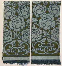 FIELDCREST Retro Blue Green Rose Floral Terry Cloth Set 2 Bath Towels (RF1034)